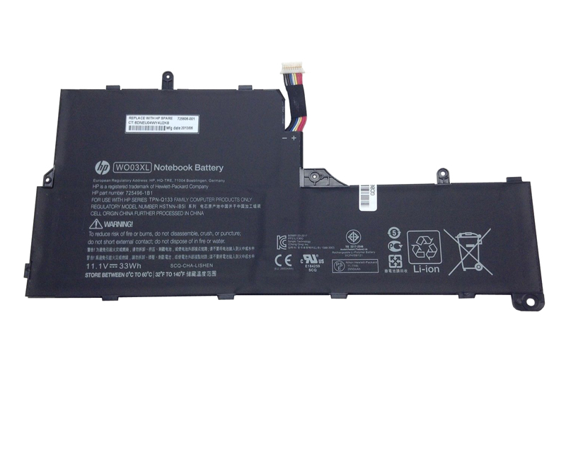33Wh HP 725606-001 739054-001 WO03XL Battery